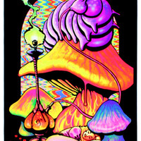 Alice in Wonderland Dreaming Flocked Blacklight Poster Art Print