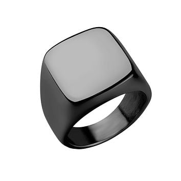 Shadow - Men's Stainless Steel Square Face PVD Plated Ring