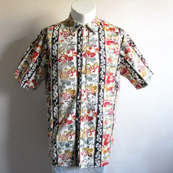 Vintage 1980s Hawaiian Shirt Cotton Print Floral Stripe Short Sleeve Mens Summer Shirts Large