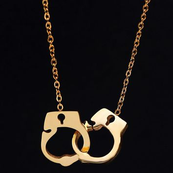 Punk Double Handcuffs girl Pendant Necklaces Stainless steel Rose Gold Color girl Jewelry Choker 2017