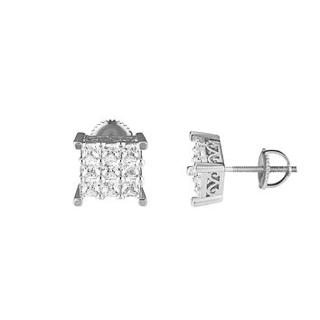 Princess Cut Mens Earrings Silver Tone Round Cut Solitaire Simulated Diamonds