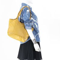 The Sak Mustard Yellow Leather Bag Tote Carryall
