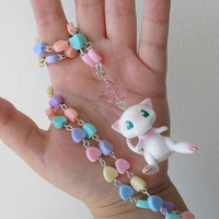 Pokémon Necklace - MEW Figure and Hearts - Decora, Kawaii, Fairy Kei