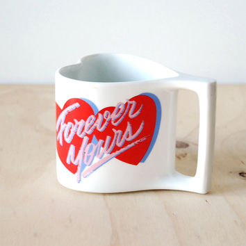 Retro 80's Heart Shaped Mug Forever Yours Red Pink Heart