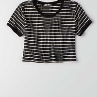Don't Ask Why Crop Ringer T-Shirt, Charcoal