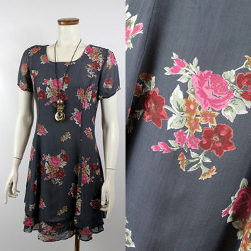 Vintage 90s - Grey & Burgundy Red Rose Floral - Sheer Ruffle Short Dress - Romantic Grunge