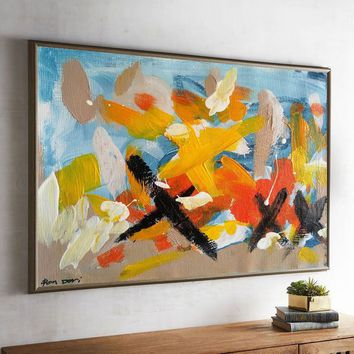 Large Oil Painting Original Canvas Yellow Painting Blue Abstract Painting Abstract Oil Painting On Canvas Wall Painting For Living Room Art
