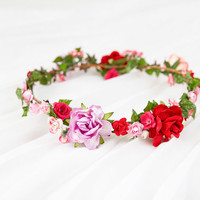 red pink cream rose hair wreath // woodland, dainty flower crown headpiece, headband, hair crown - 'Zuzana'
