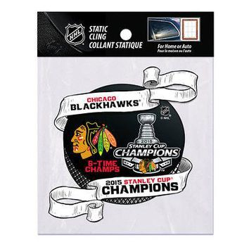 """Licensed Chicago Blackhawks 2015 Stanley Cup Champs 5"""" Window Cling Car Decal 887742 KO_19_1"""