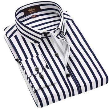 Men Shirts Long Sleeve Cotton Mens Dress Shirts Striped Business Men Casual Shirt Slim Fit