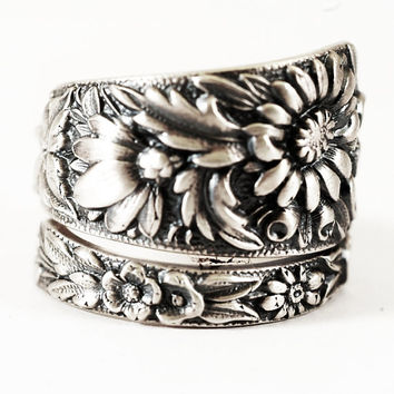 Antique Wild Flower Spoon Ring By Kirk Stieff in Sterling Silver, Handmade & Adjustable to Your Size (2097)