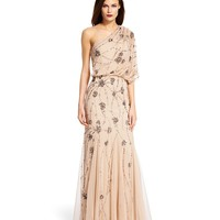 Adrianna Papell Beaded One-Shoulder Gown | Dillards