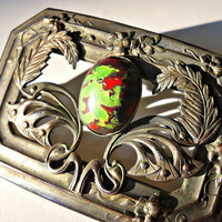 Art Nouveau Egyptian Brooch, Floral Relief Pate de Verre Green Red Glass, Antique-Vintage