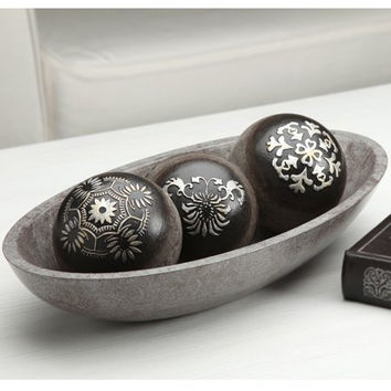 Elegant Expressions Black and Silver Decorative Orb Set w/Bowl in Gift Box - Box of 1 set