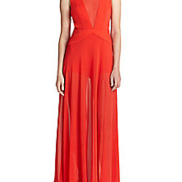 BCBGMAXAZRIA - Halee Illusion V-Neck Gown - Saks Fifth Avenue Mobile