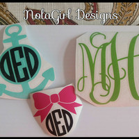 Vinyl decal, Monogram decal, Anchor vinyl decal, Bow accent decal, car window decal, lap top decal, personalized, custom orders, gift giving