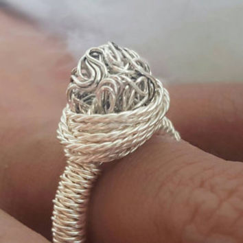 One of a kind handmade Silver-plated wire wrapped ring