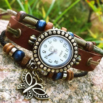 butterfly pendant antique leather watch -- -- - the best selling style restoring ancient ways of gifts
