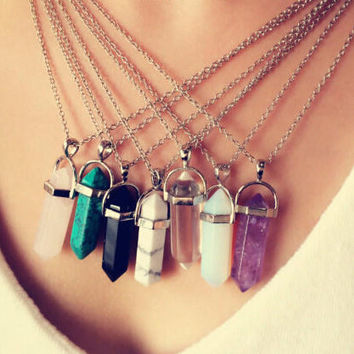 Multi Color Quartz Pendant Chain Crystal Necklace Jewelry + GIFT BOX