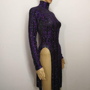 Full Rhinestone Dress black purple one piece dresses female costumes sexy  for singer dancer nightclub Stag Party prom stage