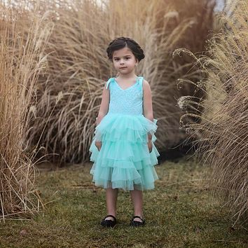 Pascala Mint Lace & Tulle Tier Ballet Dress