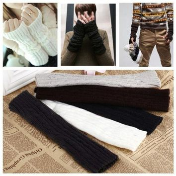 PEAPIX3 Clothing Accessories Fashion Winter Mitten Warm Unisex Men Women Arm Warmer Faux Fur Fingerless Knitted Long Gloves GA0019 One Size = 1931635588