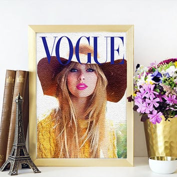 TAYLOR SWIFT PRINT Vogue Cover Art Taylor Swift Print  Archival Prints Four sizes Watercolour Fashion Illustration Prints Vogue Art Titled