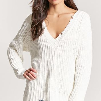 Distressed Ribbed Knit Sweater