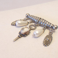 Vintage Dangling Bar Brooch Pin Dangle Charms Fashion Accessories For Her