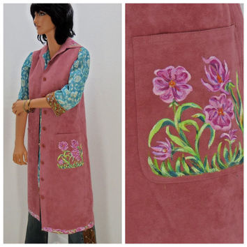 Vintage 70's long boho vest, size S / M, pink hand painted faux suede, handmade, hippie, Sunny Boho