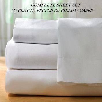 1 NEW WHITE COTTON FULL SIZE SHEET SET T300 PERCALE BEST FOR HOTELS DEEP POCKET
