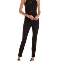 Black Backless Racer Front Jumpsuit by Charlotte Russe