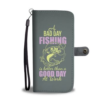 Custom Designed Bad Day Fishing Wallet Phone Case