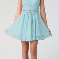 Starbox USA 6171 Illusion Neckline Applique Bodice Homecoming Dress Tiffany Blue
