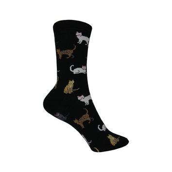 Cats Crew Socks in Black