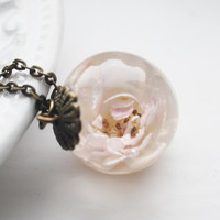 White Rose Necklace Resin Globe Love Token Real Flower Jewelry Dried Botanical Specimen