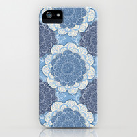 Lacy Blue & Navy Mandala Pattern  iPhone & iPod Case by Perrin Le Feuvre