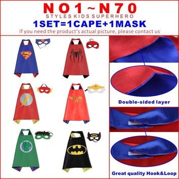 Batman Dark Knight gift Christmas Kids capes double side Superhero capes Hulk Batman superman darth vader Robin Thor black cape super hero Children Party Costumes AT_71_6
