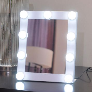 LED Bulb Gold, Pink, White, Silver, Black Vanity Lighted Hollywood Makeup Mirrors with Dimmer