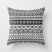 Black and White Geometric Stripes Throw Pillow by PeriwinklePeacoat
