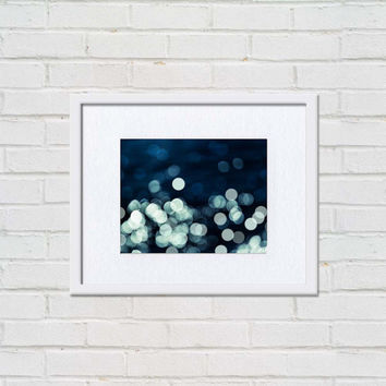 bokeh photography abstract light large photography black white 24x36 fine art photography large scale navy blue art print teal modern dark