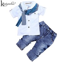 Children Clothing Sets Costumes For Boys Clothes Summer Toddler T-shirt+Jeans For Sport Suits Wear 2 3 4 5 6 7 Year Kids Clothes