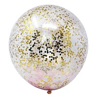 "6 Pink White Metallic Gold Flakes Confetti Balloons 18"" DIY Kit 50g Confetti Party Decor"