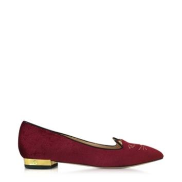 Charlotte Olympia Designer Shoes Mid-Century Kitty Burgundy Velvet Pointy Flat