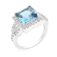 Halo Style Princess Cut Aqua Blue Cocktail Ring, size : 08