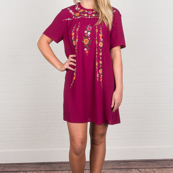 On The Border Dress, Berry
