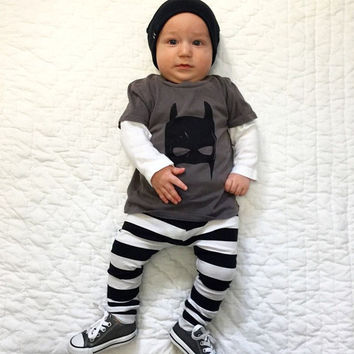 Newborn Baby Boys Toddler Batman T Shirt Pants Leggings Outfits Baby Clothing Set New