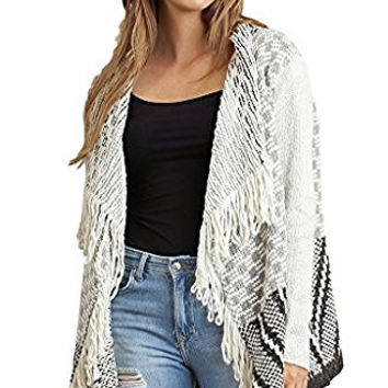 Umgee Women's Chunky Knit Multi-Colored Open Cardigan with Fringe Details