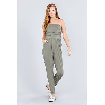 Ladies Strapless Tube Top W/front Slanted And Pocket Rayon Spandex Jumpsuit ()