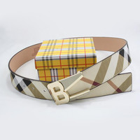 Perfect BURBERRY Men Woman Fashion Smooth Buckle Belt Leather Belt